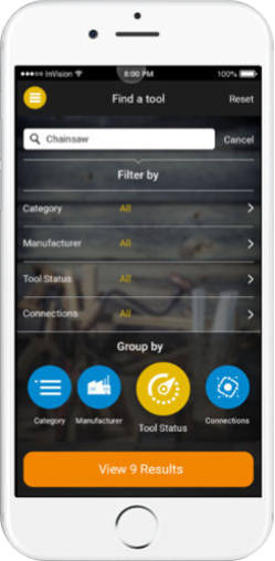 Construction Tool Inventory App Search