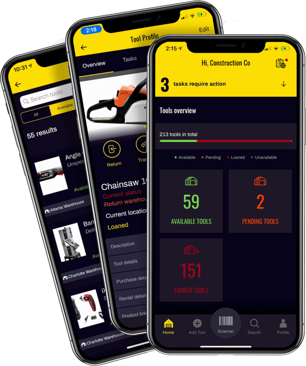 Construction Tool Tracking App get Organized